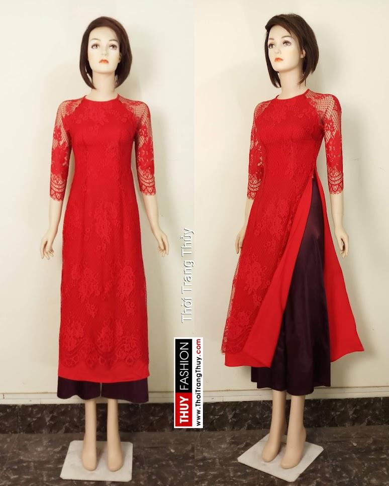 Áo dài cách tân 2 tà vải ren và lụa màu đỏ V664 tại Hải Phòng