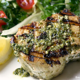 Grilled Halibut with Pesto Sauce.