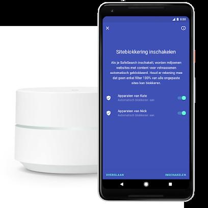 Scherm voor siteblokkering van Google op mobiel, naast Google Wifi