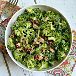 Broccoli Salad with Sunflower Seeds and Cranberries.