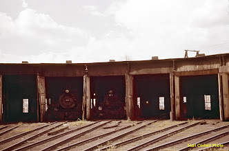Photo: 074-20.  The old roundhouse as viewed from the raised track for dumping coal into the coal tower bin.   The engine at the left is K-36 #481; the one at the right is K-28 #478.  7/25/60.
