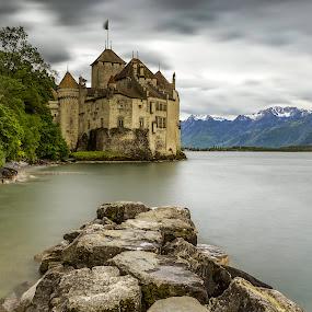 Chateau de Chillon by Nikolas Ananggadipa - Buildings & Architecture Public & Historical ( canon, smooth, switzerland, cloudy, grey, long exposure, lake, castle, stones )