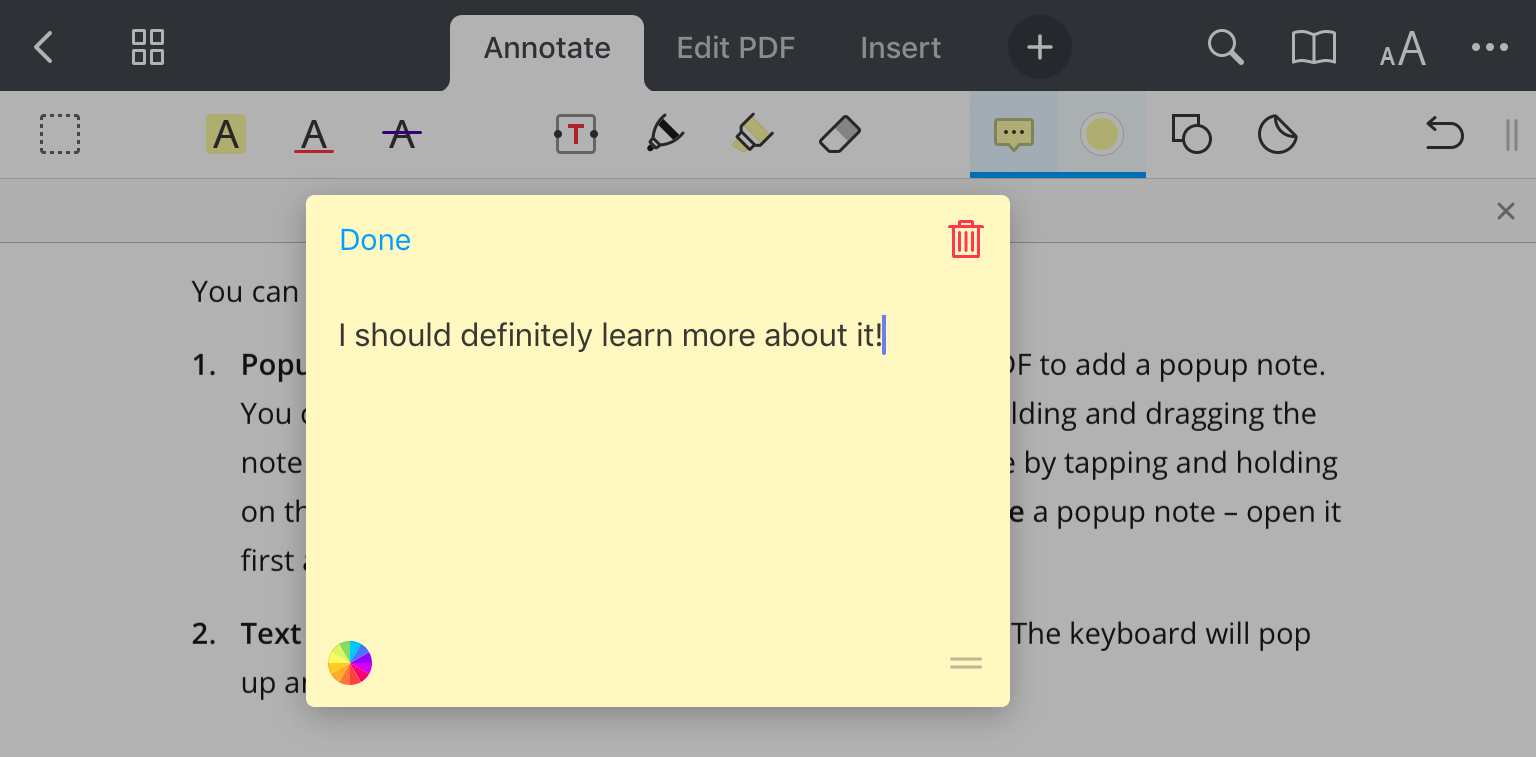 Add text comments and pop-up notes - Readdle Knowledge Base