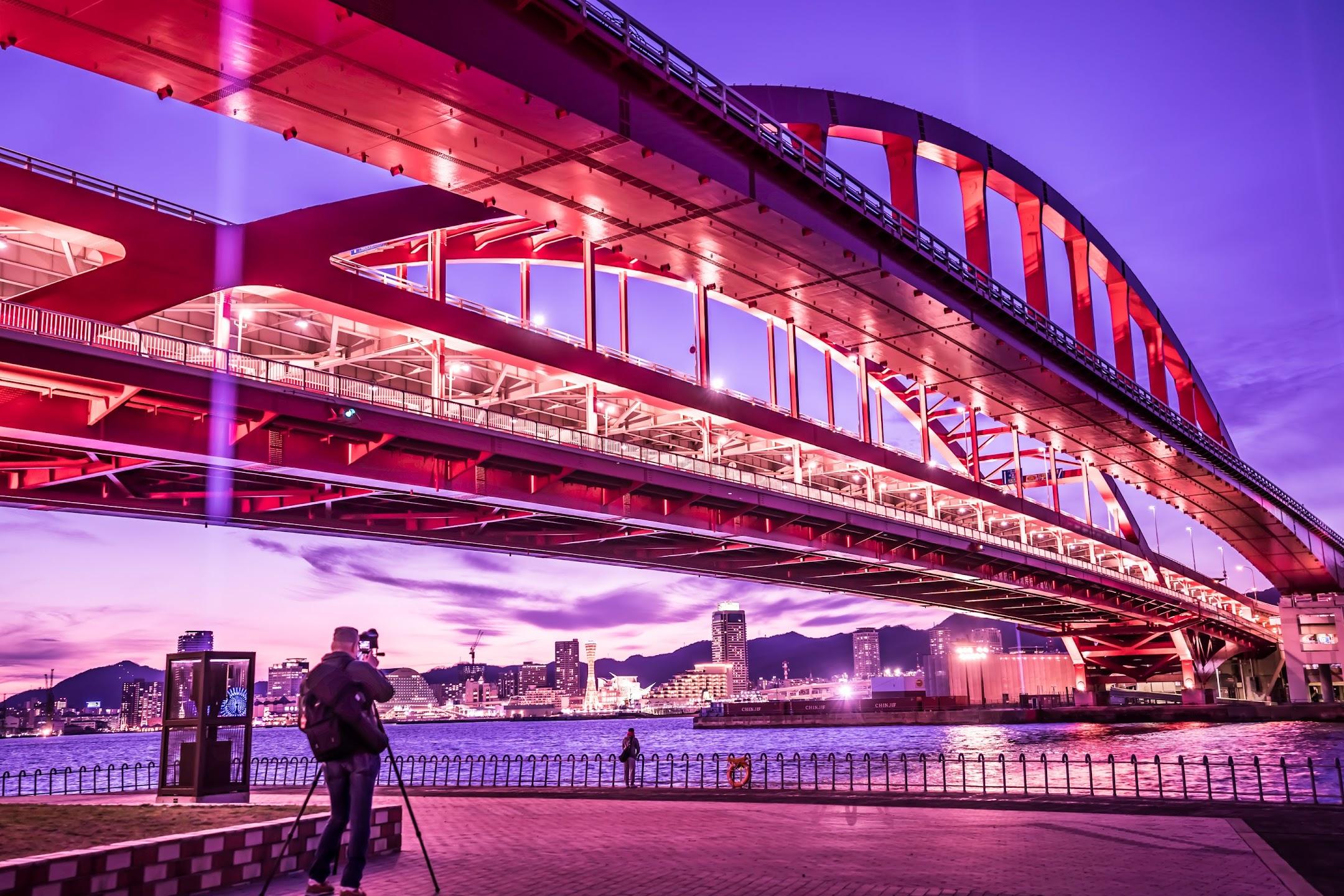 Kobe Great Bridge light-up3