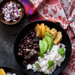 Cuban Black Bean and Cilantro Lime Rice Bowls with Baked Plantains.