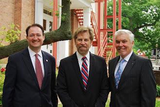 Photo: Eureka College VP Michael Murtagh (right) and John Morris (left) with David Commanday, guest performer at the Reagan Memorial 2013
