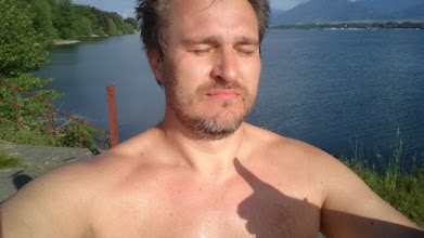Photo: let's concentrate for the swimming in the ice-cold mountain water :-)