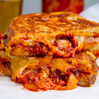 Kimchi and Bacon Grilled Cheese Sandwich.
