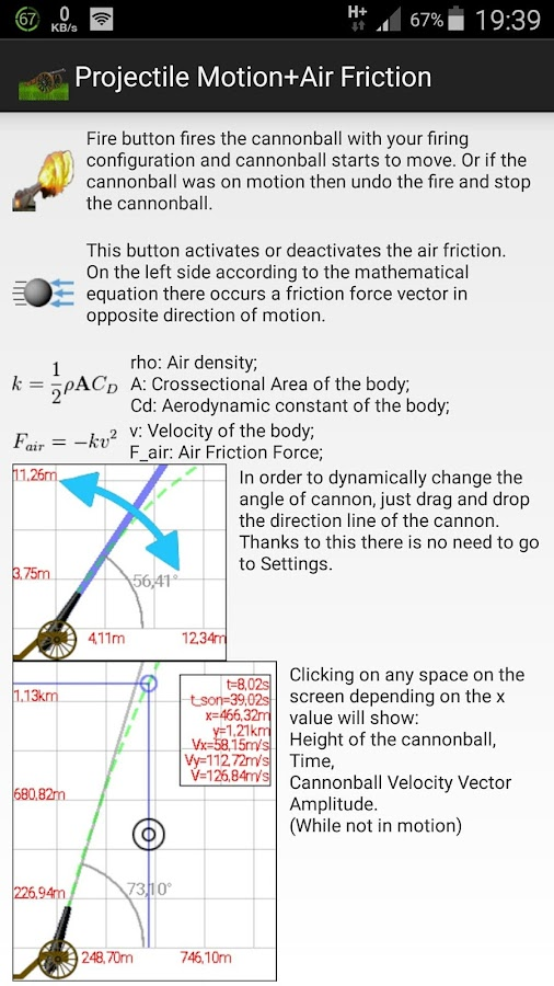 Projectile Motion+Air Friction- screenshot