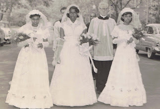 Photo: Mid-50's_May Procession_Ann Redmond-May Queen w Fr. Neery_St. Cyprian Parish