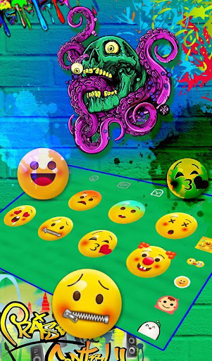 Zombie Skull Graffiti Keyboard Theme 6.5.9 screenshots 5