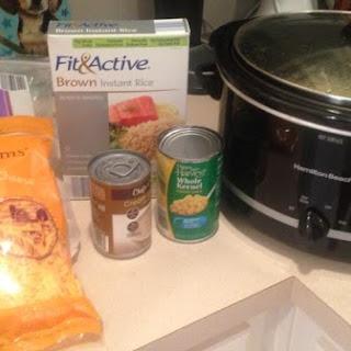 Cheesy Chicken and Rice-Crockpot.