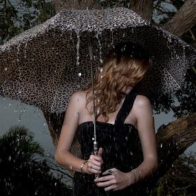 Tears And Rain  by Photographyby Tanja - People Portraits of Women ( woman, sad, umbrella, rain )