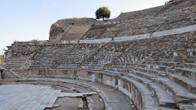 Photo: The theater. Not as impressive as Epidauros, but nice. Highly restored because it was mostly destroyed previously.