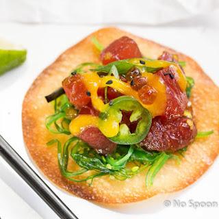 Tuna Poke Wontons {with Mango Coulis} Recipe