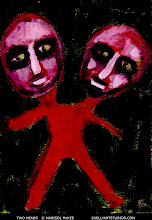 Photo: Two Heads. (sold) 5 1/8 in x 7 1/8 in. Acrylic and marker on 110 lb. cardstock. Title and signature on the back. Sold to a collector in New Mexico. ©Marisol McKee.