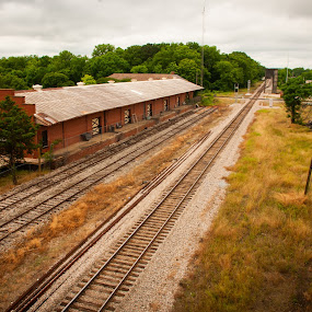 Train Depot and Tracks by Kevin Beasley - Transportation Railway Tracks ( depot, railroad, rail, trasnportation, tracks, train )