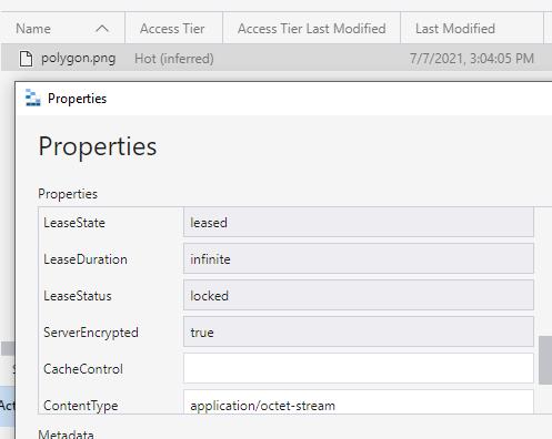 Microsoft Azure Blob Storage storage explorer screenshot