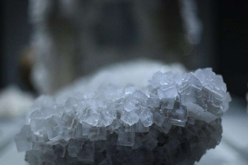 Enlarged view of salt crystals
