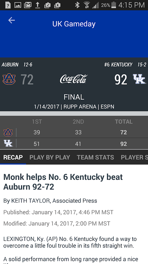 Kentucky Wildcats Gameday- screenshot