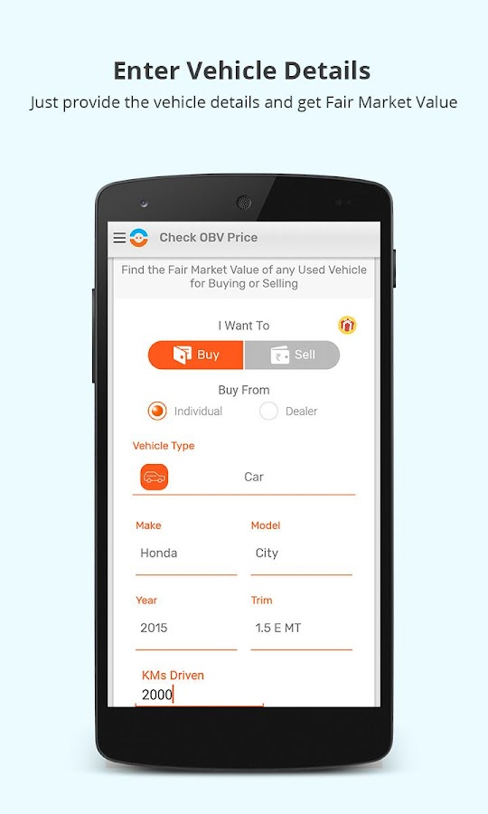 OBV:Used Car & Bike Price Tool- screenshot