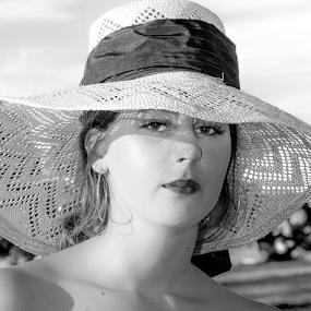 Girl in Hat by John Walton - Black & White Portraits & People ( girl, sunhat, heritagefocus, sun, hat )
