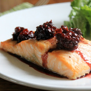 Roasted Salmon with Blackberry Jalapeno Butter Sauce