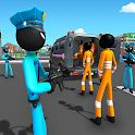 US Police Stickman Criminal Plane Transporter Game icon