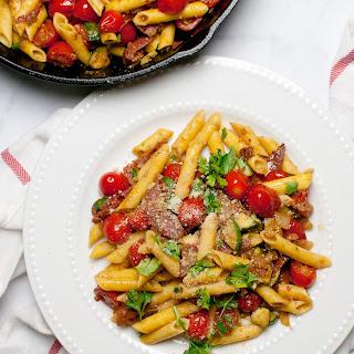 Penne with Prosciutto and Zucchini.