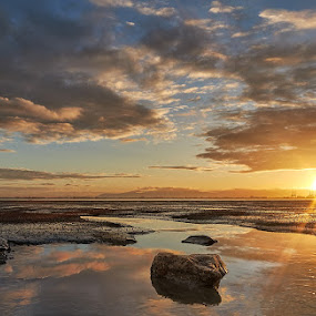 Sunrise view at Gurney Drive, Georgetown by Stanley Loong - Landscapes Sunsets & Sunrises ( clouds, water, blue sky, reflections, rock, sunrise, landscape,  )