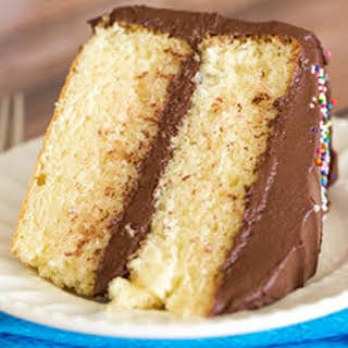 Classic Yellow Cake with Chocolate Frosting.