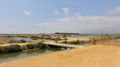 Photo: View of the salt ponds from the natural park welcome centre