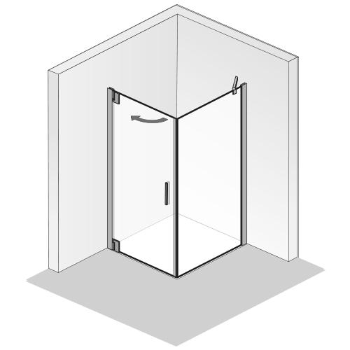 Shower Cabins_Drehtür mit Seitenwand