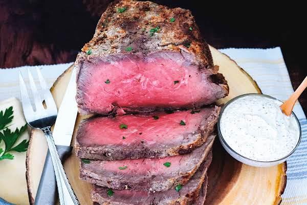 Simple Roast Beef With Horseradish Cream Sauce On The Side.