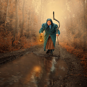 The time when you cannot face anymore the age by Caras Ionut - Digital Art People ( car, clouds, old, tutorials, freedom, dream, cliff, ground, leaf, manipulation, field, fence, flying, psd, sky, cloth, woman, high, rocks, rainbow, light, flower, photoshop )