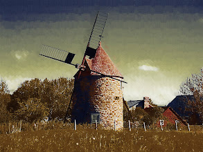 Photo: One of the only European-style windmills in North America, Isle De' Coudre, Quebec...Old world gothic oil effect