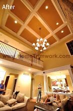 Photo: (After) Lestrina's Coffered ceiling, Wall and ceiling paint, Square pillars and header breakfast doorwayToll Brothers home in Byers Station, Chester Springs, PA