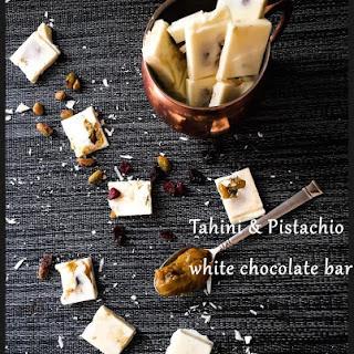 White Chocolate Bars With Pistachio,tahini And Orange Filling