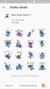 Cute Blue Koala Stitch Stickers for WhatsApp Screenshot