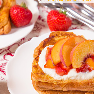 Strawberry and Peach Stuffed French Toast with Honeyed Ricotta