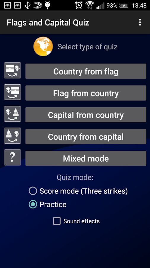 Flags and Capital Quiz- screenshot