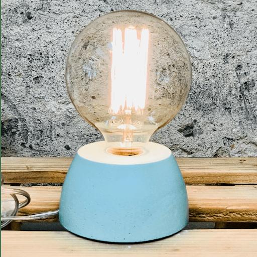 lampe béton vert d'eau design fait-main création made in france