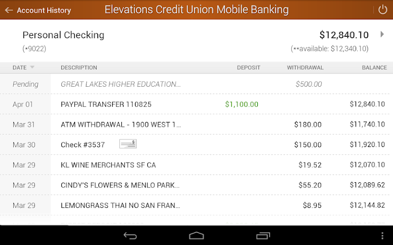 android Elevations Credit Union Mobile Screenshot 6
