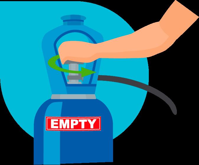 Manipulating empty gas bottle safety training