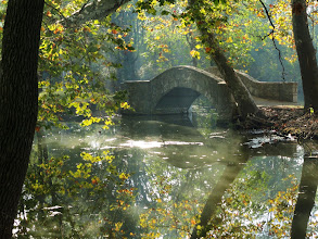Photo: Magical morning sunlight on an old stone bridge hidden in autumn leaves at Eastwood Park in Dayton, Ohio.