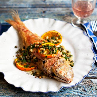 Fried Red Mullet With Oranges And Capers.