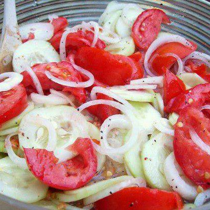 Marinated Cucumbers, Onions, and Tomatoes Recipe