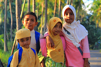 Photo: Andi and his friends, the children of the Bajo fisherman village in Riung were heading to their school, one hour walking uphill from their village. http://www.indonesia.travel