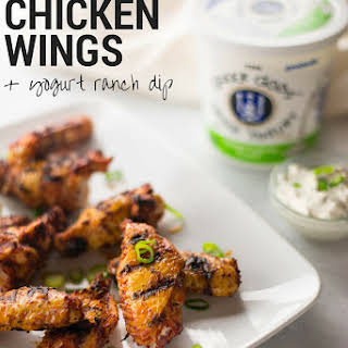 Grilled Chicken Wings With Yogurt Ranch Dip.