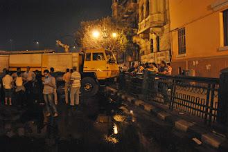 Photo: A truck slammed into a rail in the earlier frenzy...